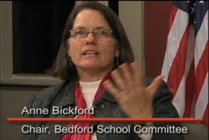 Anne Bickford, representing the Bedford School Committee - Image (c) Bedford TV, 2013
