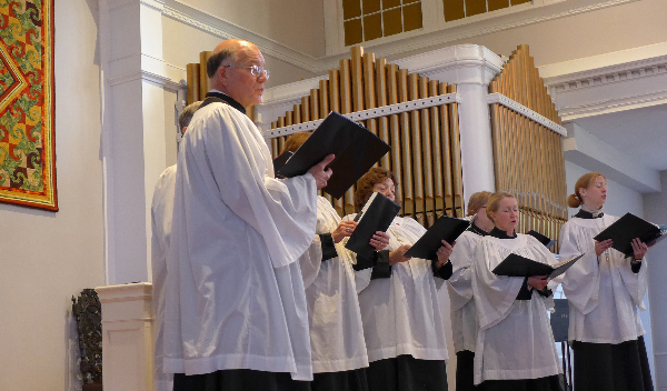 Members of St. Paul's Episcopal Church choir singing at the 2013 Inter-faith Thanksgiving service - Image (c) JMcCT, 2013