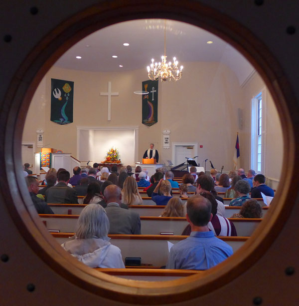 Looking into the sanctuary at First Church of Christ, Congregational - Image (c) JMcCT, 2014