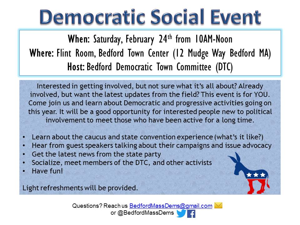 Democratic social event the bedford citizen interested in getting involved but not sure what its all about already involved but want the latest updates from the field this event is for you m4hsunfo